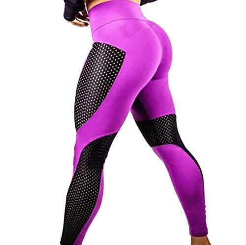 Donna Sportivi Asciutte Vita Pantaloni da Alta Leggins Rosso Push Fliegend Elastici Mesh Yoga Leggings Collant Pantaloni Up Veloci 1PAnqw