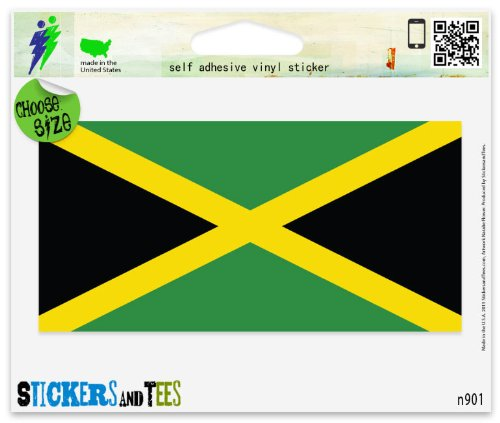 "Jamaica Jamaican Flag Vinyl Car Bumper Window Sticker 3"" x 2"""