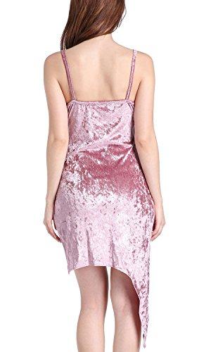 Hem Pink V Womens Asymmetric Strap Neck Wrap Summer Mini Velvet Dresses Dreamskull Spaghetti Sexy 5nOqIR0x6