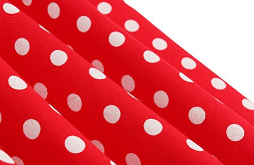 Mujer Rojo en o A para Vestido Trapecio Corta Corte 48 Manga DISSA Ivqfzxw