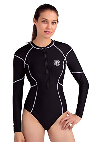 - AXESEA Womens Long Sleeve Rash Guard UV UPF 50+ Sun Protection Printed Zipper Surfing One Piece Swimsuit Bathing Suit (8, Line White)