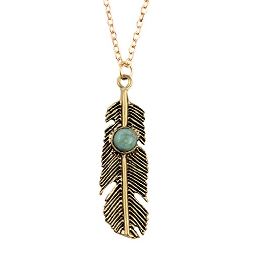 Little Sister Costume Tutorial (Retro Leaves Turquoise Stone Pendant Bronze Feather Sweater Chain Necklace)