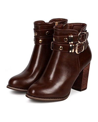 Dbdk Dk81 Donna In Similpelle Cintura Tacco Grosso Zip Riding Bootie In Similpelle Marrone