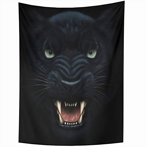 Ahawoso Tapestry Wall Hanging 60x80 Inches Scary Black Angry Panther Face Darkness Digital Danger Painting Beast Wildcat Cat Furious Head Cougar Home Decor Tapestries Art for Living Room Bedroom Dorm ()