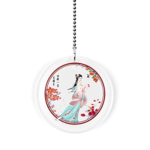 Oriental Spring Blossom Fan/Light Pull