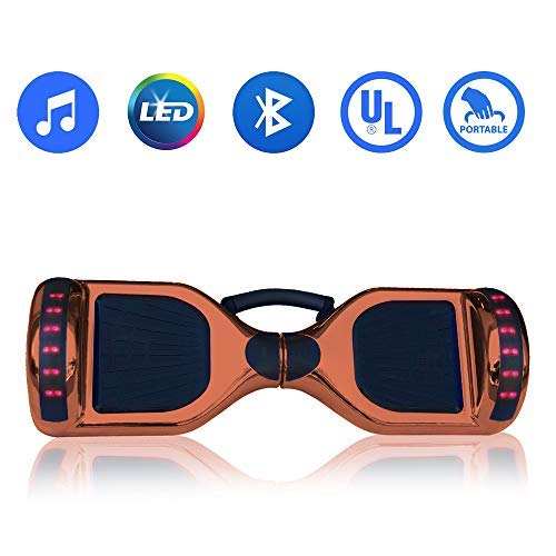 WorryFree Gadgets Hoverboard Self Balancing Electric Scooter UL2272 Certified 6.5inch Light Up Wheels Bluetooth Speaker LED Lights Hover Board w/Carry Handle