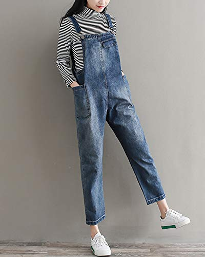 Donna Sciolto Leisure Salopette Jeans Bavaglino Tuta Pantaloni Jumpsuit In Blu Kasen Dritto 7Sgdq7
