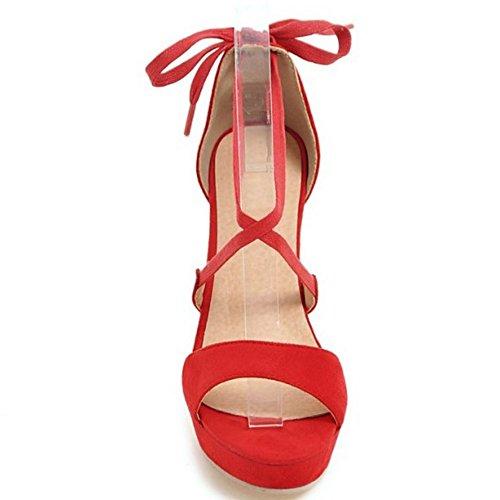 Soiree Mariage Bout 952 Plateforme Ouvert Elegant TAOFFEN Laniere Haut Sandales Talon rouge Femme xpqnFXwXO
