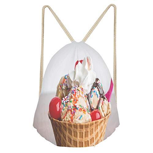 (Sports Drawstring BackpackFancy Ice Cream Sundae with Hot Fudge Sprinkles Ch)