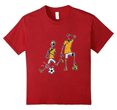 Kids Halloween Zombie Soccer Player T-shirt 4 Cranberry