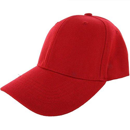 Red-100% Acrylic Plain Baseball Cap Baseball Golf Fishing Cap Hat Men Women Adjustable Velcro (US - Male Models Kuwait