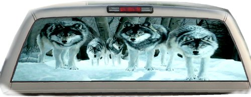 Snowy Wolves- 17 Inches-by-56 Inches Compact Pickup Truck- Rear Window ()