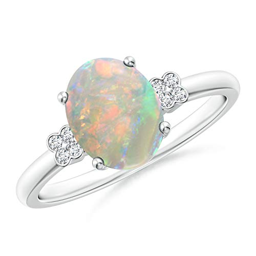 - Solitaire Oval Opal Ring with Diamond Floral Accent in 14K White Gold (9x7mm Opal)