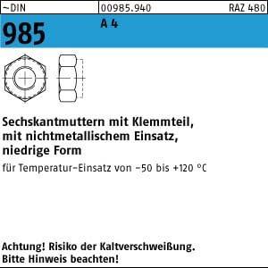 100 Edelstahl V4A Sechskantmuttern DIN 985 A4 M3