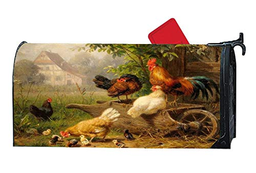 Chicken Hen Family Rooster Magnetic Mailbox Cover - Seasonal/Animal Themed, Decorative Vinyl Mailbox Wrap Post Box Covers Standard Sized