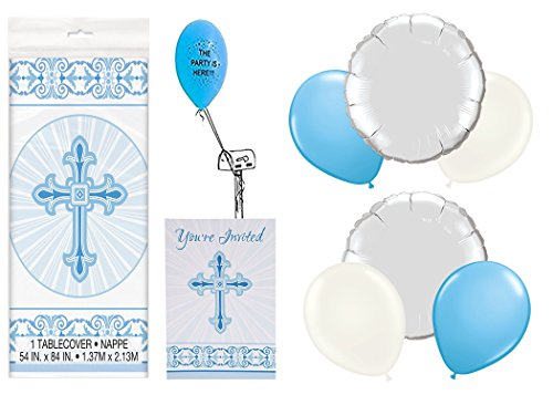 (Blue Radiant Cross Communion/Baptism Party Pack With 8 Invitations)