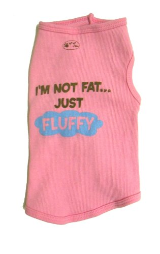 Fat Dogs In Costumes (Doggie Tank Top, I'm Not Fat Just Fluffy, Pink, Extra-Large)