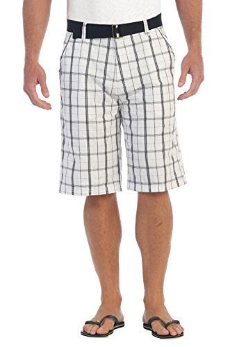 Gioberti Mens Plaid Shorts with Belt, 5 Pockets, White Striped, Size 40