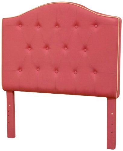 (HomePop K3208-A476+A309 Youth Upholstered Twin Arched Headboard Tufted Deep Pink)