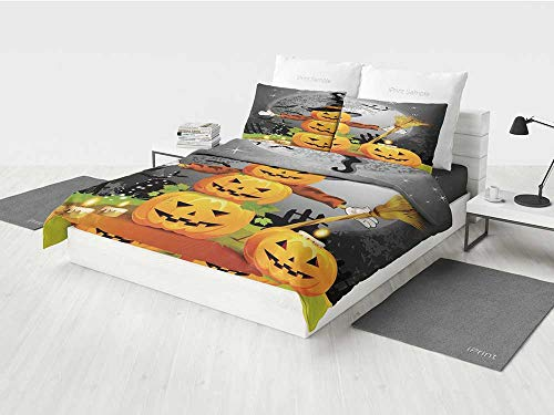 Halloween Complete Bedding Set Cute Pumpkins Funny Composition Traditional Celebration Witches Hat Broomstick Printing Four Pieces of Bedding Set Multicolor -