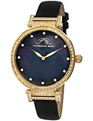 Porsamo Bleu Chantal Satin Covered Genuine Leather Womens Watch with White Topaz 673BCHL