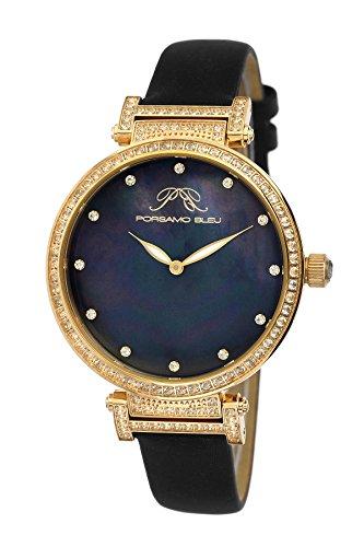 Porsamo Bleu Chantal Satin Covered Genuine Leather Women's Watch with White Topaz 673BCHL (Watch Strap Mop Satin)