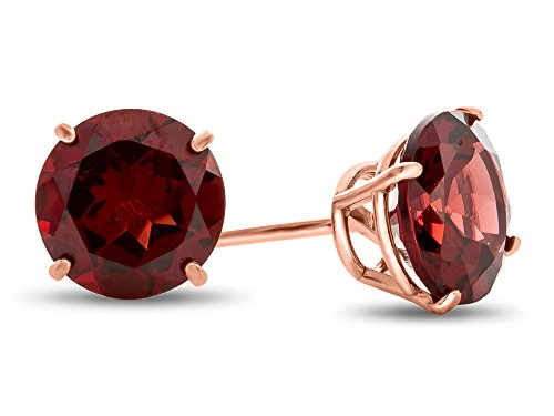 Finejewelers 14k Rose Gold 7mm Round Garnet Post-With-Friction-Back Stud Earrings