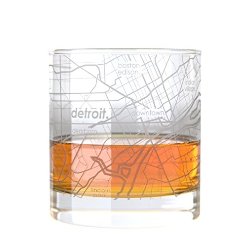 (Uncommon Green Detroit Map Rocks Etched Whiskey Glass)
