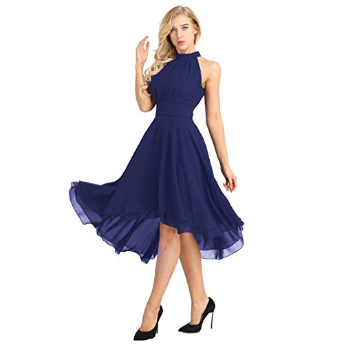 inlzdz Women's Halter Chiffon Asymmetrical High Low Short Country Bridesmaid Dresses Prom Homecoming Dress Navy Blue 4