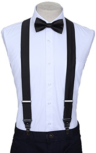 "Marino Suspenders and Bow Tie Set - Dress Suspenders For Men - Silk-Like Pants Suspenders - Black - 42"" from Marino Avenue"