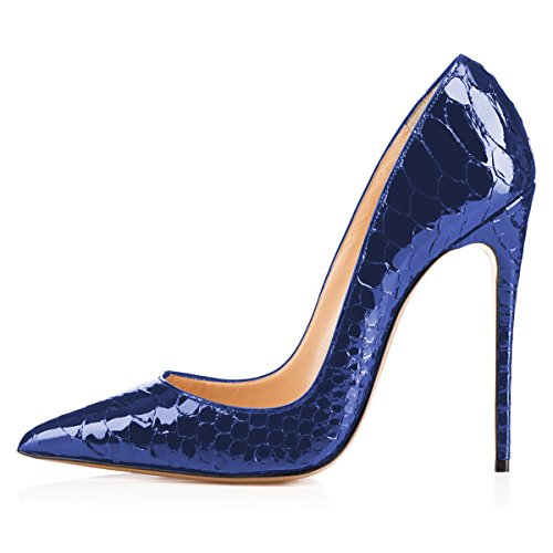 Heel Pumps FSJ Women 4 15 Toe Pointed Size Party Stiletto Dress for High Snake Navy Formal Shoes US w0wC5qg