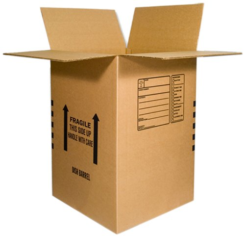 EcoBox Dish Barrel Heavy Duty Moving Box 18 x 18 x 28 Inches, Pack of 5 (V-8378)