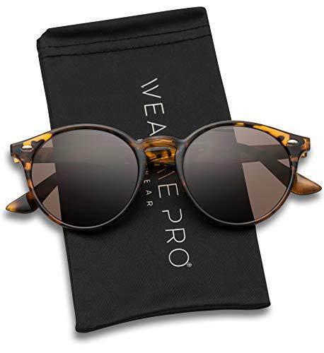 Brown Frame Tortoise (WearMe Pro Classic Small Round Retro Sunglasses, Tortoise Frame/Brown Lens)