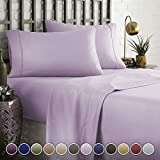 HC COLLECTION Hotel Luxury Comfort Bed Sheets Set, 1800 Series Bedding Set, Deep Pockets, Wrinkle & Fade Resistant, Hypoallergenic Sheet & Pillow Case Set(Queen, Lavender)