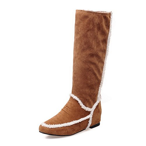 AllhqFashion Womens Assorted Color Low Heels Round Toe Cow Imitated Suede Pull-On Boots Brown u9sWT17V