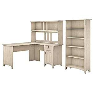 Bush Furniture Salinas L Shaped Desk with Hutch and 5 Shelf Bookcase, 60W, Antique White