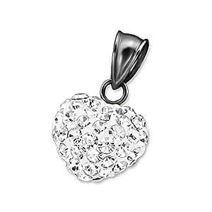 Corazón de plata con colgante de cristal