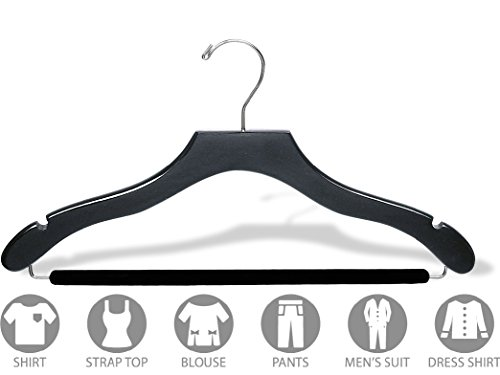 The Great American Hanger Company Wavy Black Wood Suit Hanger w/Velvet Non-Slip Bar, Box of 100 Space Saving 17 Inch Flat Wooden Hangers w/Chrome Swivel Hook & Notches for Shirt Dress or Pants by The Great American Hanger Company (Image #2)