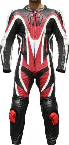 Einteiler Motorradkombi Motorrad Lederkombi aus Rindsleder echtleder Kombi Rot, Größe:56