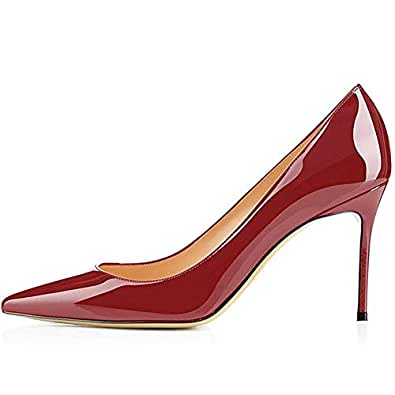 Kmeioo Middle Heels, Women's Sexy Stiletto Shoes Pointy Toe Slip-On Office Pumps for Party Dress Red Size: 6