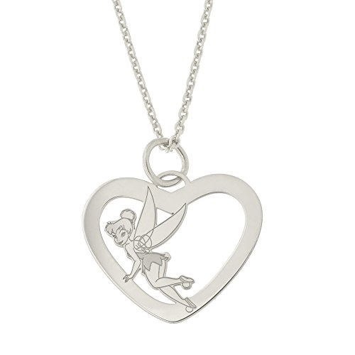 - Disney Sterling Silver Rhodium Plated Tinker Bell Heart Pendant Necklace, 18 inches