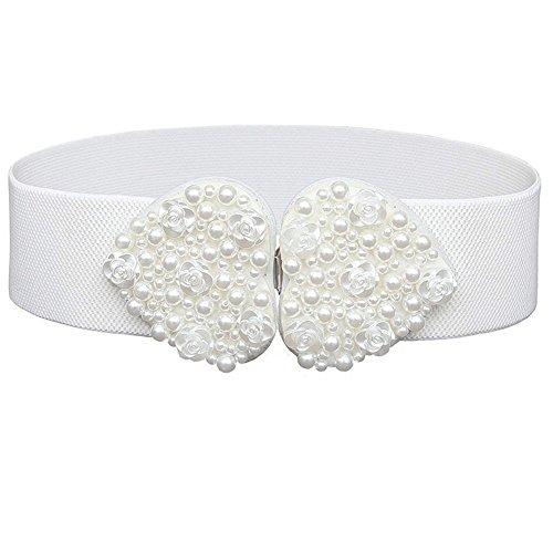 Wide Elastic Waist Belt for Women Fashion Pearl Waistband Stretch Belt (White)