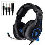 Mystery Gaming Headset, 3.5mm Stereo Sound Noise Cancelling Microphone Headset Over-Ear Headphones with Mic Mute Volume Control Memory Earmuffs (Black)