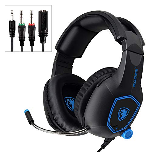(Mystery Gaming Headset, 3.5mm Stereo Sound Noise Cancelling Microphone Headset Over-Ear Headphones with Mic Mute Volume Control Memory Earmuffs (Black))