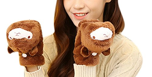 Allbebe Winter Women Gloves Cute Cartoon Flip Alpaca Plush Thick Warm Mitten