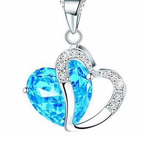 Botrong Fashion Women Heart Crystal Rhinestone Silver Chain Pendant Necklace Jewelry (Blue)