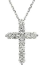 1.75 White Gold Diamond Cross Pendant Necklace 14 Kt