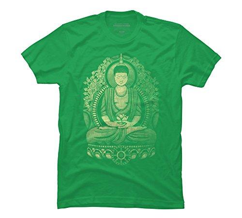 (Design By Humans Gautama Buddha Weathered Halftone Men's Large Kelly Green Graphic T Shirt )