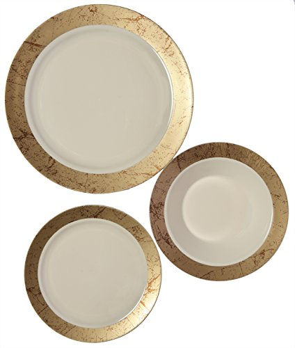 Party Joy 225-Piece Plastic Dinnerware Set | Marble Collection | (75) Dinner Plates, (75) Salad Plates  & (75) Bowls| Heavy Duty Premium Plastic Plates for Wedding, Parties, Camping & More (Gold) by Party Joy
