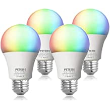 Smart LED Light Bulb 2.4G(Not 5G) E26 WiFi Multicolor Light Bulb Work with Alexa,Siri, Echo, Google Home and IFTTT (No Hub Required), A19 60W Equivalent RGB Color Changing Bulb (4 Pack)